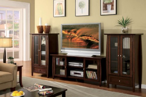 Rochelle Framed Glass Door Brown Cherry Entertainment Pier Cabinet by Furniture of America