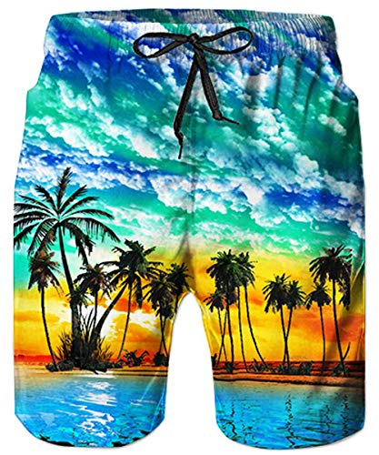 bb0ee7815 Loveternal Men's Funny Swim Trunks Elastic Waistband Graphic All-Over  Printed Beach Short Quick Dry Casual Board Shorts for Boys Mens Swim Trunks  Long L
