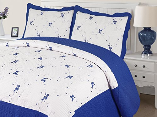 Empire Home Xenia 3PC Quilted / Embroidered Oversized Bedspread (Royal Blue, Twin Size)
