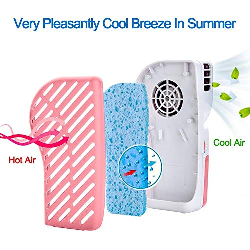 LUCKSTAR Handheld Cooler Fan - Small Fan Mini-Air Conditioner Speed Adjustable Summer Cooler Fan With Water Bottle Powered by Batteries or USB Cable for Home / Office / Travel / Outdoor (Pink) by LUCKSTAR (Image #3)