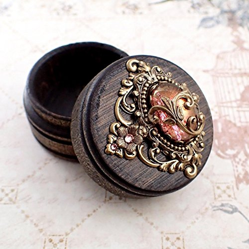 Tiny Fairytale Trinket Box made with Hand-Stained Wood, Antiqued Brass, Czech Glass, and Swarovski Rhinestones