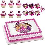 Barbie Glitter Licensed Edible Wafer Cake Topper & Cupcake Ring Combo