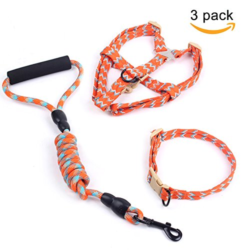 Set Of 3 PCS - Dog Collar Leash Harness Nylon Mountain Climbing Gog Rope Slip Training Lead Collar Set With 3 Pieces Kit Perfect For Medium Dog Training And Walking