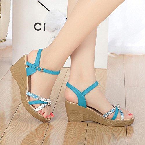 FL@YC Femmes Wedge Sandales éTé Confortables En Cuir Casual Hauts Talons éPais , blue , 40