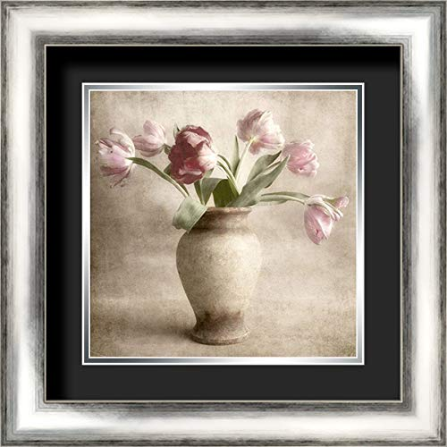 Parrot Tulips 20x20 Silver Contemporary Wood Framed and Double Matted (Black Over Silver) Art Print by Poinski, Dianne