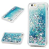 MOLLYCOOCLE iPhone 6s Case, iPhone 6 Case, Liquid Sparkle Glitter Case Clear TPU Shell Bling Design Quicksand Cute Star Flowing Cover for iPhone 6/6s - Blue