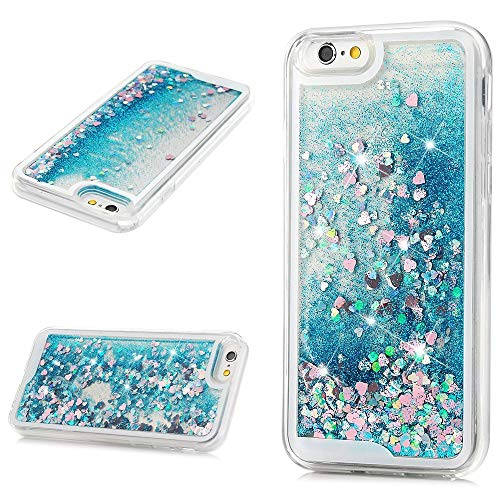iPhone 6s Case, iPhone 6 Case, Liquid Sparkle Glitter Case Clear TPU Shell Bling Design for Girl Woman Gifts Quicksand Cute Star Flowing Cover for iPhone 6/6s - Blue