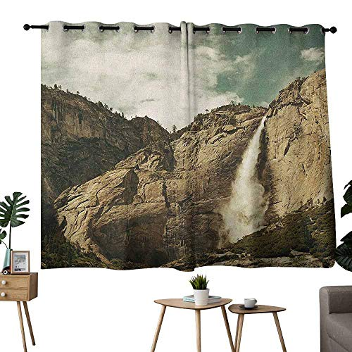 Mannwarehouse Yosemite Decor Curtains Waterfalls in Yosemite National Park California Famous Travel Destination for Living, Dining, Bedroom (Pair) 55