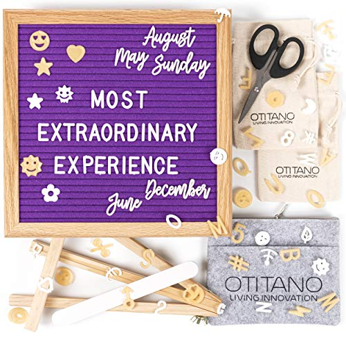 Felt Letter Board 10x10 Inch - Letter Board with White & Gold Letters - 400 Changeable Felt Board Letters, Cursive Words, Symbols for Sign and Felt Letter Board with Stand by Otitano (Purple)