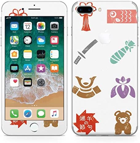 igsticker iPhone8 Plus 専用スキンシール 全面スキンシール フル 背面 側面 正面 液晶 ステッカー 保護シール 015266 こどもの日 鯉のぼり 兜 熊