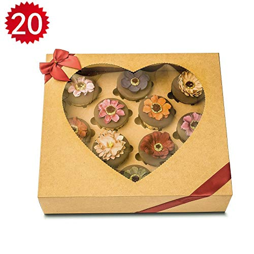 RomanticBaking 20 Pack 12 Cupcake Box Easy Assembly Heart-shaped Thick Food Grade Brown Kraft Pastry Cupcake Box Cardboard from RomanticBaking