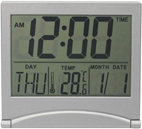 DoreenBow - Reloj Despertador, termómetro Digital, Calendario, visualización de Fecha, Escritorio, Mesa, Reloj, Pantalla de Fecha, Plegable: Amazon.es: Hogar