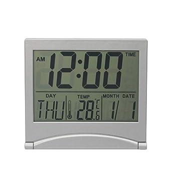 DoreenBow - Reloj Despertador, termómetro Digital, Calendario, visualización de Fecha, Escritorio, Mesa, Reloj, Pantalla de Fecha, Plegable: Amazon.es: ...