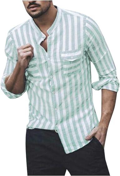TUDUZ Camiseta Hombre Manga Larga Camisa Suelta Top Sin Cuello Rayado Bolsillo Ropa Otoño: Amazon.es: Ropa y accesorios