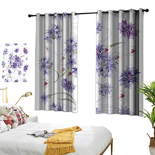 Home Series Design Chic Curtains Floral Seamless Wallpaper Pattern with Blue cornflowers Polyester Does not Fade, Durable and not Easy to Dirty W96.4 xL72