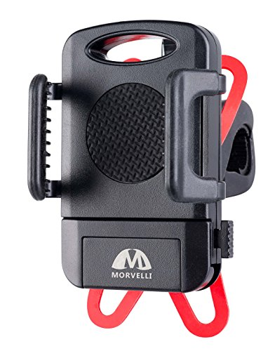 Morvelli Bike Phone Mount Fits iPhone 6s, 6s Plus, iPhone 7, 7 Plus, Galaxy S8, S7, S6, S5, GPS Device Holds Phones Up To 3.94