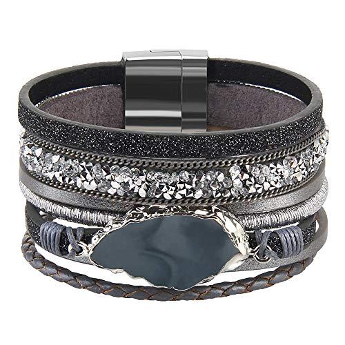AZORA Leather Cuff Bracelet Multi Rope Wrap Bangle with Pearl Metallic Heart Cuffs Bracelets for Women Teen Girl Gift (Gray-Leather Bracelet for Women)