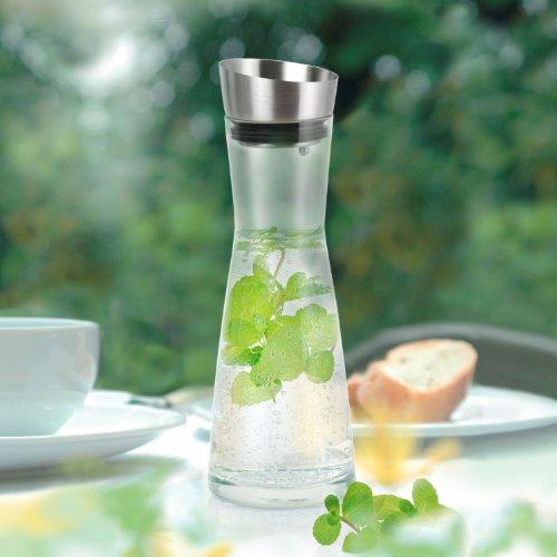 Hochwertige Glaskaraffe mit Edelstahl Deckel-Ausgießer ca. 1 Liter