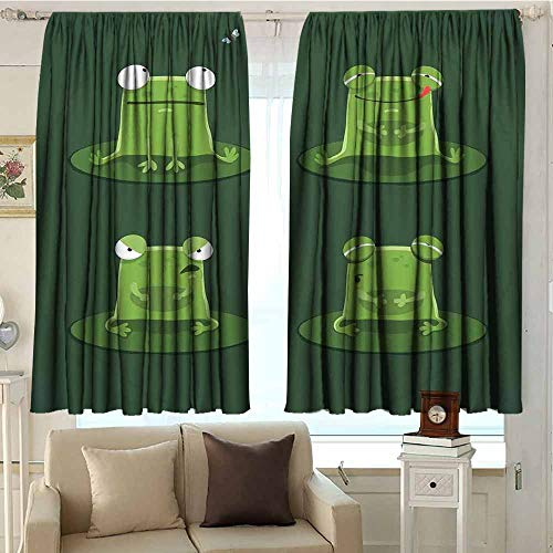 DuckBaby Funny Customized Curtains Funny Muzzy Frog on Lily Pad in Pond Hunting Tasty Fly Expressions Cartoon Animal for Living, Dining, Bedroom (Pair) W84 xL72 Hunter Green
