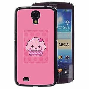 A-type Arte & diseño plástico duro Fundas Cover Cubre Hard Case Cover para Samsung Galaxy Mega 6.3 (Cupcake Cartoon Pink Muffin Polka Dot)
