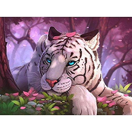 5D Full Drill Diamond Painting Kit DIY Kits for Adults and Beginner Embroidery Arts Craft Landscape Cartoon White Tiger 15.7x11.8in 1 Pack by Cenda