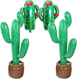 2 Pcs Inflatable Cactus Tree / 2 Pcs Cactus Foil Balloons/Fiesta Cactus Party Decorations Tropical Luau Hawaii Party Supplies