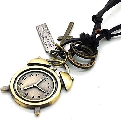 Punk Vintage Leather Rope Alarm Clock Pendant Necklace ()