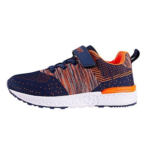 KVbaby Jungen Mädchen Hallenschuhe Freizeit Laufschuhe Atmungsaktiv Mesh Sneaker Leichtgewicht Outdoor Sport Schuhe Orange
