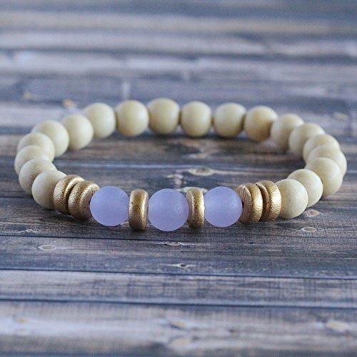 Periwinkle Sea Glass Wooden Bead Stacker Bracelet
