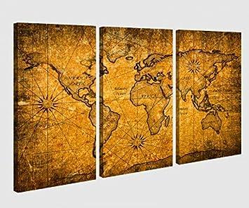 Amazonde Leinwandbild 3 Tlg Karte Welt Weltkarte Braun Antike