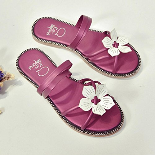 Deesee (tm) Mujeres Bohemia Summer Flower Weave Sandalias Beach Peep-toe Chanclas Zapatos Hot Pink