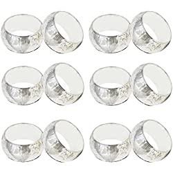 SKAVIJ Silver Brass Napkin Rings Set of 12 Round Floral for Wedding Party Holiday Dinner