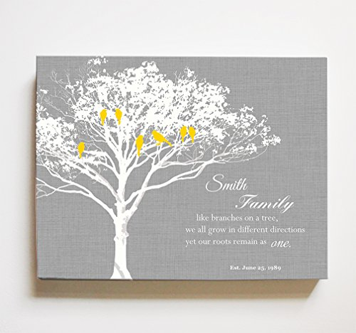 MuralMax - Personalized Family Tree & Lovebirds, Stretched Canvas Wall Art, Make Your Wedding Memorable, Unique Wall Decor, Color Gray - Size 10 x 8-30-Day