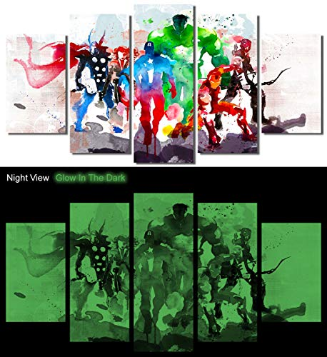 Picture Sensations® Glow In The Dark Framed Canvas Art Print, Abstract Watercolor Marvel Avengers Super Hero Wall Canvas Art - 60