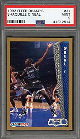 1992-93 fleer drakes #37 SHAQUILLE ONEAL orlando magic rookie card PSA