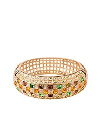 T400 Jewelers Queen Gold Plated Swarovski Elements Charm Bracelet / Bangle