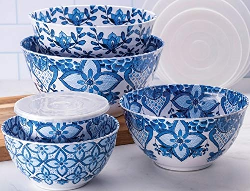 10 Piece Melamine Mixing Bowl Set Blue