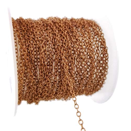 Antique Copper Over Brass Thin Cable Chain Spool for Jewelry Making - Lead Nickel Free (1.7 x 2mm) 1.7mm