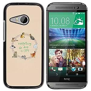 Be Good Phone Accessory // Dura Cáscara cubierta Protectora Caso Carcasa Funda de Protección para HTC ONE MINI 2 / M8 MINI // cats love yellow animal pattern text