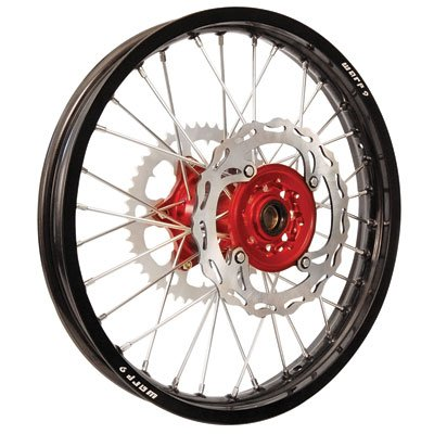 Warp 9 Complete Wheel Kit - Rear 19 x 2.15 Black Rim/Red Hub/Silver Spokes and Nipples for Honda CRF250R 2014-2018 by Warp 9