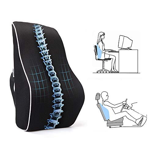 PROMIC Memory Foam Lumbar Support Back Cushion w/Breathable 3D Mesh Cover, Full Lumbar High-Back Pillow for Back Pain, Ergonomically Support Lower & Upper Back, for Car Seat, Office Chair, Couch