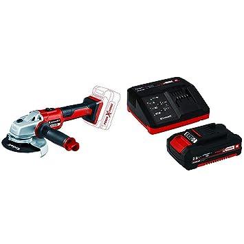 Einhell AXXIO - Amoladora Angular Inalámbrica + 4512040 Kit con Cargador batería de Repuesto, tiempo de carga: 30 Minutos