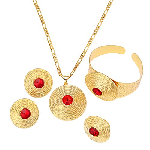 African Gold Jewelry Round Stone Pendant Earrings Bangle 24K Gold Plated Classical Set