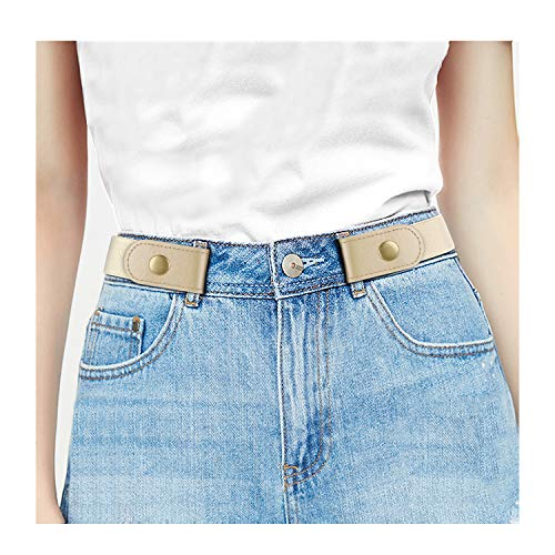 """No Buckle Stretch Women Belt For Jeans Pants, Elastic Buckle Free Invisible Belts For Men Up To 48"""" (Large Size: 32"""