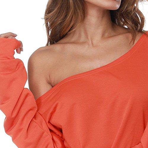 Chemise Sweatshirt Free manches Hoodies Sexy sweatshirt imprime lettre longues Orange fortnite paule lache chemiser femme QHDZ Femmes l'automne longue pull wZEZ1
