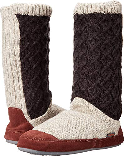 ACORN Women's Slouch Boot Slipper, Charcoal Cable Knit, - Sheepskin Knit Boots