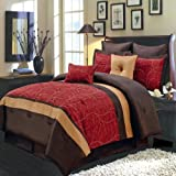 Atlantis Red, Gold and Chocolate King size Luxury 12 piece comforter set includes Comforter, bed skirt, pillow shams, decorative pillows, flat sheet, fitted sheet, pillowcases.