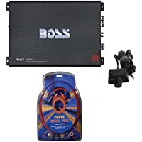 BOSS R2000M 2000W Riot Monoblock Car Audio MOSFET Mono Amplifier+4 Ga Amp Kit