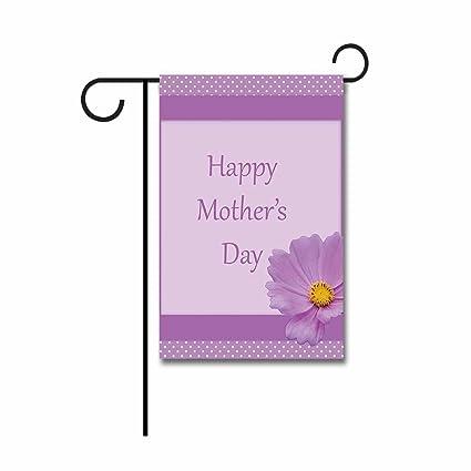 Amazoncom Hamory Happy Mothers Day Garden Flag Purple Flower
