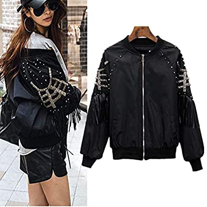FelixStore Spring Autumn Jacket Women Fashion Stand Collar Baseball Rock Jackets Tassels Rivets Bomber Jacket Coat